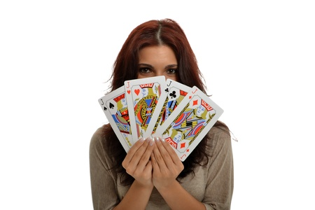 jacks: Beautiful brunette with Jacks Poker in hands