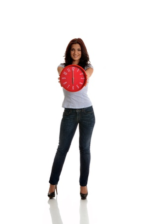 Brunette business woman with clock in hands