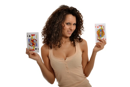 A pretty young lady choosing between two Jacks Stock Photo - 14105648