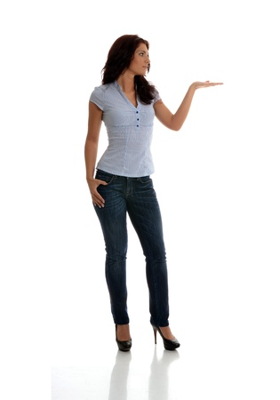 introducing: Beautiful business woman with the left palm presenting gesture.