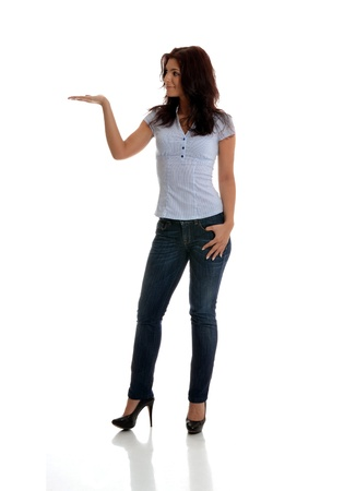 white pants: Beautiful business woman with the right palm presenting gesture.