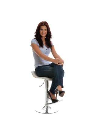 stool: Beauty waiting for interview with a smile