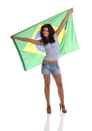 Beautiful Latin Raising Brazilian Flag