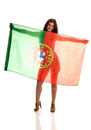 Beautiful Latin Raising Portuguese Flag
