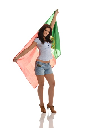 Beauty Proud of Being Portuguese Holding The Flag photo