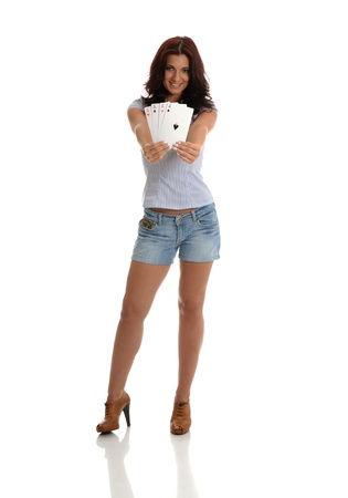 A pretty sexy lady holding a Poker of Aces