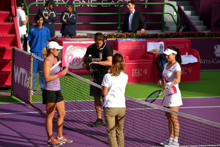 17th: DOHA-QATAR: FEBRUARY 11: Australian Tennis Player Anastasia Rodionova and Chinese Jie Zheng at Qatar Total Open on February 11, 2013 in Doha, Qatar. The event was held from February 11th till February 17th 2013.