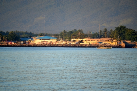 Beautiful morning view of Vale beach port in Davao-City Philippines