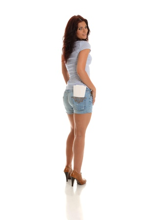 Sexy lady with Business cards in her rear pocket photo