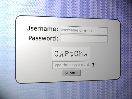 Captcha words for human security login Stock Photo