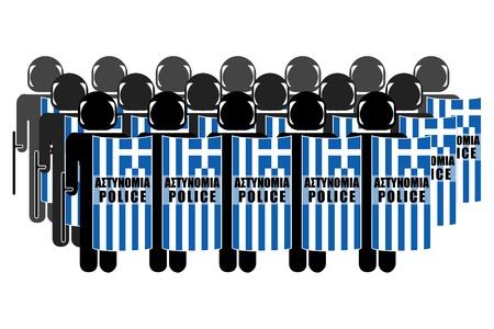 neutralize: Silhouette of Greek Anti-Riot Police Stock Photo