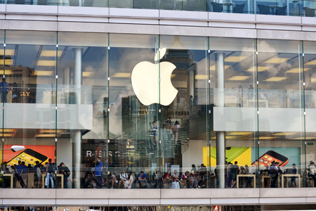 HONG KONG CHINA - MAY 25  External view of Apple shop and showroom in IFC Mall on May 25th 2014  Apple is one of the most visited shops in the IFC shopping center and in Hong Kong
