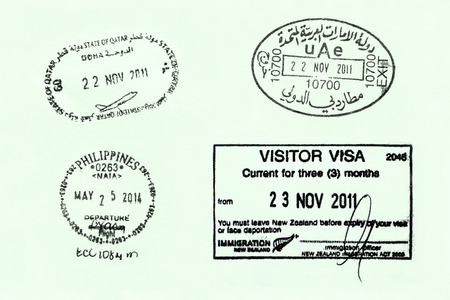 Passport page with arrival & departure stamps from various countries