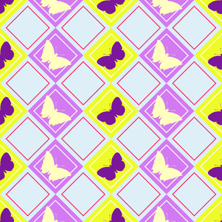 Colorful background with seemless decorative butterflies pattern