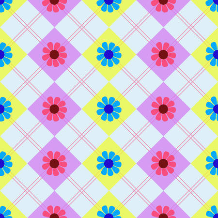 Nice colorful floral background with pink and blue flowers