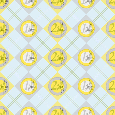Nice background of two and one euro coins decorated pattern