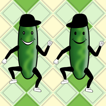 Funny cute cucumber party on nice decorative background Stock Photo