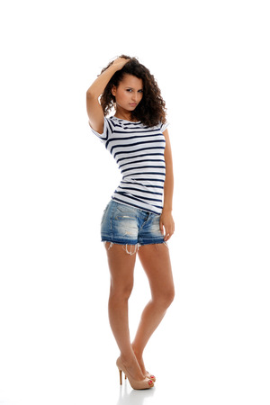 Beautiful fashion brunette in summer casual clothes