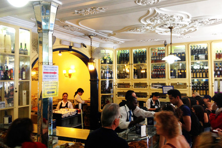 Inside the coffee shop of Pasteis de Belem. Pastries of Bethlehem is one of the most famous sweets shop in Lisbon and a must stop touristic destination. Editorial