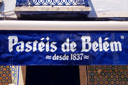 The sign and logo of Pasteis de Belem. Pastries of Bethlehem is one of the most famous sweets shop in Lisbon and a touristic destination. Editorial