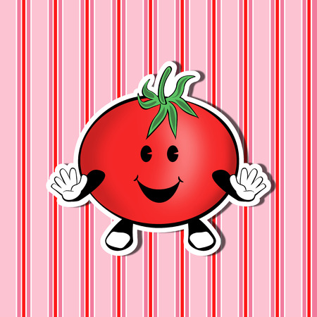 Funny cute cartoon tomato on a nice decorative background