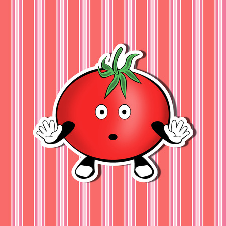 Funny cute cartoon surprised tomato on a nice decorative background Stock Photo
