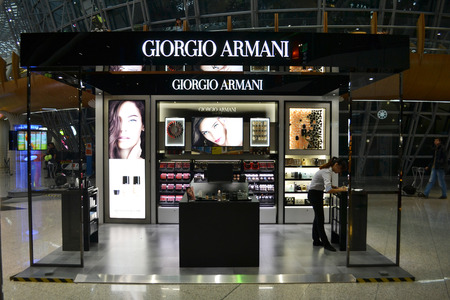 Kuala Lumpur Malaysia  April 20 2015: Giorgio Armani stand at Kuala Lumpur International Airport. Giorgio Armani is one of the most famous prestigious brands around the world.