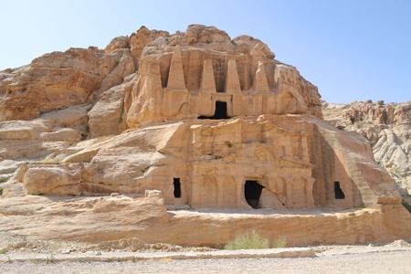 Nabataean caves & sculptures on the way to the ancient city of Petra. Stock Photo