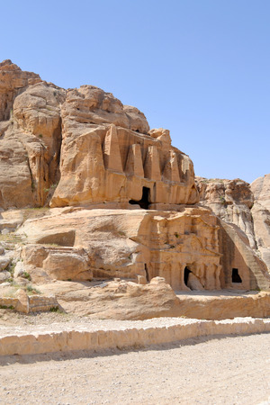 nabataean: Nabataean caves & sculptures on the way to the ancient city of Petra. Stock Photo