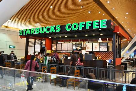 Kuala Lumpur Malaysia: Starbucks shop at Kuala Lumpur International Airport. Starbucks is one of the most famous coffeeshops around the world. Editorial