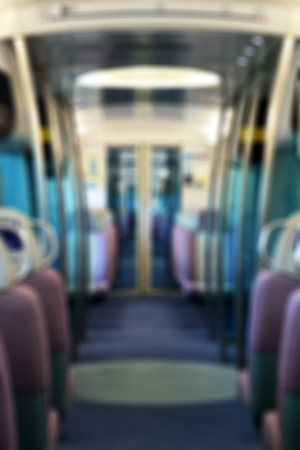 Blurred background of an empty metro train