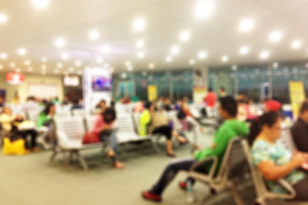 Blurred background of an airport terminal gate