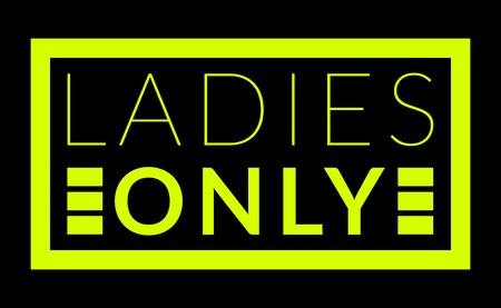 Commercial warning sign of ladies only in shocking yellow over black background Stock Photo