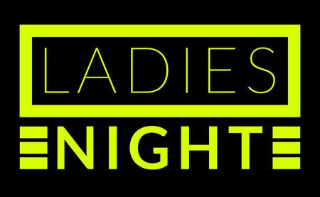 Commercial warning sign of ladies night in shocking yellow over black background Stock Photo