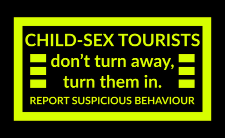 Warning sign about child abuse tourists with shocking yellow on black background Stock Photo