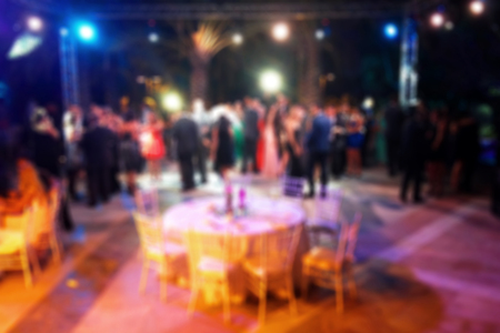 Blurred background of night dancing party  in a restaurant outdoor Stock Photo
