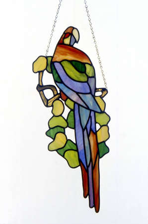 stained glass windows: Stain glass window of a parrot
