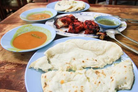tandoori chicken: Tandoori chicken, Naan bread in Malaka, Malaysia