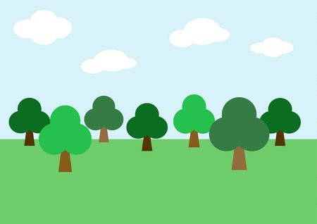 bucolical: Tree, forest background vector Illustration