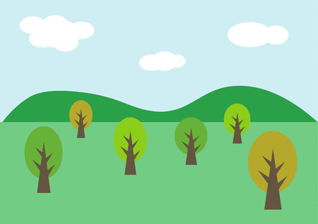 Landscape background with tree and hill, vector illustration