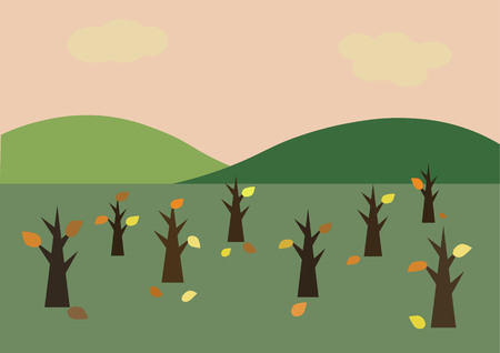sunrise sky: Vector background of sunrise sky with tree and hill in autumn