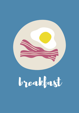 Vector of fired eggs and bacon in the plate, breakfast in the morining Stock Vector - 73964558