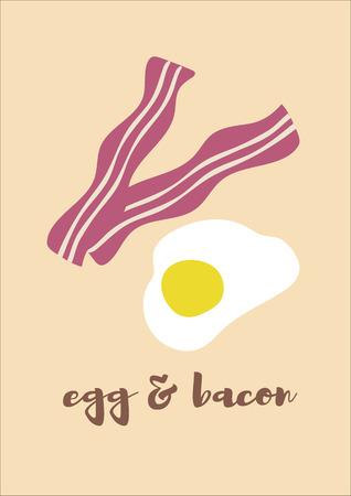 Gebakken eieren en gefrituurde spek achtergrond vector Stockfoto - 73964454