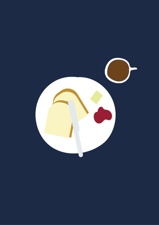 Breakfast set: coffee and 2 toasted with butter and jam - design vector illustration