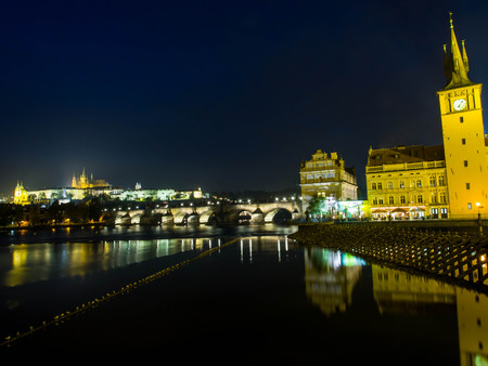 Prague, Czech Republic - October 15, 2013: Night view of Prague castle, St. Vitus cathedral and Charles bridge - Prague, Czech Republic Editorial