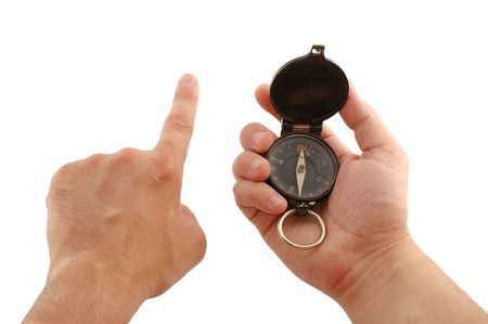 Mans hand with an ancient German officer compass