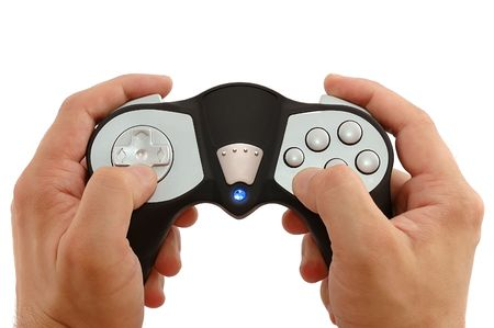 Mans hands with the game controller on a white background photo