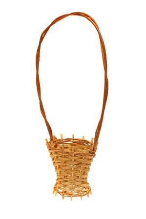 basket embroidery: Wattled decorative basket it is isolated on the white Stock Photo