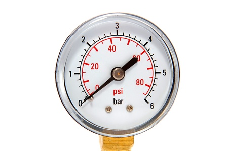 Manometre for pressure measurement on a white background Stock Photo