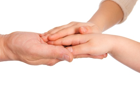 man's thumb: Childrens palms in a reliable mans hand